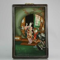 20C Very fine Chinese Behind Glass Painting Lady with child in House[:zh...