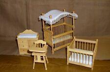 Kinderzimmer Möbelset, Puppenhaus Miniatur 1:12 weiss 4 Teile, Buche,Himmelbett