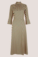Closet Women's High Neck Striped Front Slit A-Line Dress Size 14 New With Tags