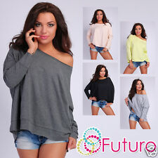 Casual Top Long Sleeve Baggy Jumper Boat Neck Loose Fit Tunic Size 8-14 FT003