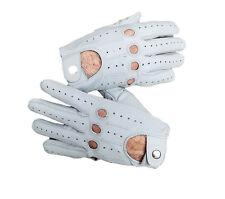 White sheep skin leather driving gloves for Men
