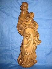 Holzschnitzerei, heilige Maria mit Kind,  53 cm, natur