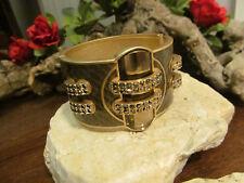 Gold satin tone Lia Sophia Snake Look Ransom Cuff Hinged Bangle Bracelet