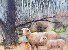Art Original Impressionism Animal Oil Painting LBJ Park Old Oak trees and Sheep