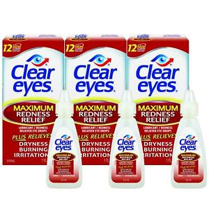 Clear Eyes Maximum Redness Relief Eye Drops 0.5oz x 3 Pack