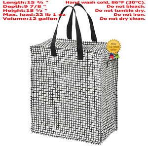 IKEA KNALLA REUSABLE Grocery Bag with Zip Black with White DOT 12 Gallon Capacit