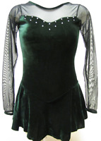 Green Velvet Long Sleeves Sweetheart Ice Figure Skating Competition Dress XL+
