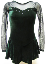 Green Velvet Long Sleeves Sweetheart Ice Figure Skating Competition Dress L