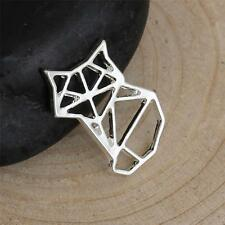 5 Fox Charms Origami Paper Foxes Outline Fox Charms Silver Plated Pendants 18mm