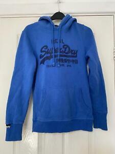 Superdry Blue Hoodie Size Medium Womens Long Sleeve (L481)