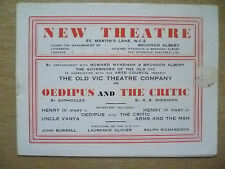New Theatre Programme- OEDIPUS & THE CRITIC by Sophocles & R B Sheridan