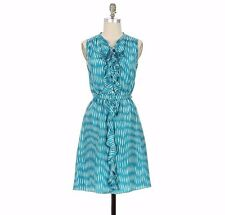 ANTHROPOLOGIE CASCADING RUFFLES DRESS BY LIL SILK SLEEVELESS BELTED PRINT 2 $158