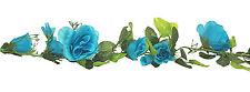 TURQUOISE BLUE TEAL AQUA Rose Garland Silk Wedding Flowers Arch Gazebo Reception
