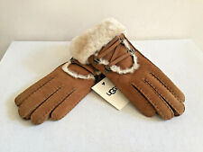 UGG SHORT IGLOO CUFF CHESTNUT SHEEPSKIN SHEARLING SUEDE GLOVES sz S