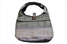 GREY EMBROIDERED SOFT HOBO SHOULDER BAG W/ LINEN LINING