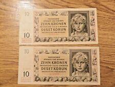 More details for 1942 bohemia&moravia protectorate two 10 korun banknotes #*#
