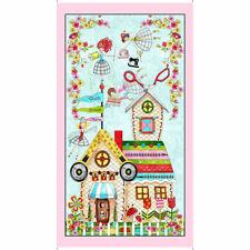 "Sew Quilt Theme Cottage Garden Fairy Fairies Pink Cotton Fabric QT 24""X44"" Panel"