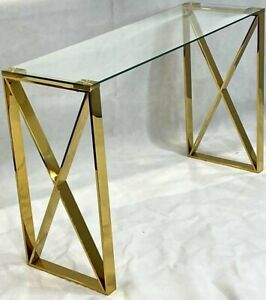 CONSOLE HALLWAY ENTRY TABLE STAINLESS STEEL GOLD TEMPERED GLASS TOP