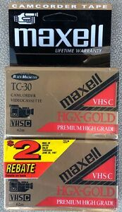 NEW! Lot of 2 Maxell VHS-C TC-30 HGX-Gold Camcorder Tapes - Black Magnetite