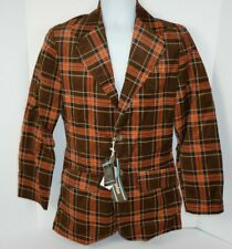 Vtg 1970's Men's Corduroy Blazer, Sport Coat Brown Plaid 36, Vanderbilt