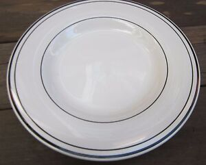 "Pottery Barn Serving Platter MARINE Pattern 12"" round White with Black Striping!"