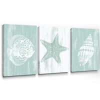 Starfish Canvas Wall Art Teal Prints for Rustic Bedroom Bathroom Decor 12x16 3pc
