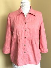 JH Collectibles Womens Size L Blouse Button Down Top Aztec Design Pink Salmon