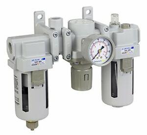 "PneumaticPlus Air Filter Regulator Lubricator 1/2"" NPT 3/8 NPT SAU400A-N04G"