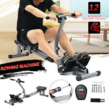 Body Fit Rowing Machine 12 Level Resistance Home Gym Fitness Workout W/  D3