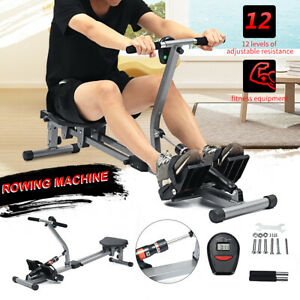 Body Fit Rowing Machine 12 Level Resistance Home Gym Fitness Workout W/  AU1