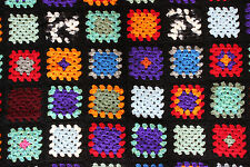"Vintage Crochet Afghan Throw Blanket Granny Square Black Multicolors 39"" x 46"""
