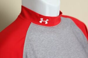 Under Armour Men's gray & red long sleeve base layer shirt Large L golf baseball