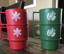 Tupperware Multi-Mugs Set/4 #1312 Christmas Red/Green  9oz. Stackable - NOS