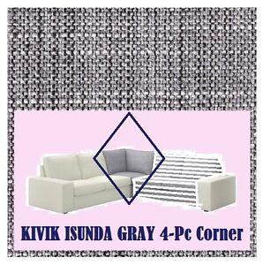 IKEA Kivik Corner Sofa 4-Piece Cover Isunda Gray Slipcover NEW Solely for CORNER