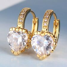 White sapphire brand new 24k yellow gold filled heart sweet leverback earring
