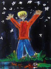 ORIGINAL CHILD Sky Landscape Folk OUTSIDER Naive   MCW art Mary Carol Raw Vision