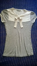 New Look stylish Breton striped top bow to front VGC size 6 work casual On Trend