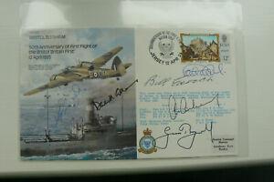 RAF B23 FDC SIGNED BY 6 INT. CRICKETERS INCL., BILL EDRICH, BOYCOTT, LOCK, GOWER