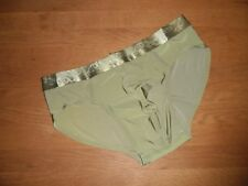 Mens Large Seamless Second Skin Satin Ice Silk Green Briefs Lingerie UK