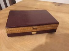 VINTAGE BROWN LEATHER WITH BRASS TRIM LINED WALES JEWELRY TRINKET BOX Tie Clasp