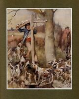 FOXHOUNDS GETTING READY TO HUNT FOX, HORSE AND HUNTER, COLOR FOX HUNTING PRINT