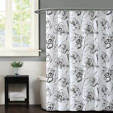 Christian Siriano Graphic Floral Sketched Shower Curtain Black White Shabby Chic