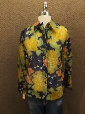 Classy Vtg Colorful DRAGONFLY FLORAL Semi Sheer Nylon Button Down Shirt 12 NEW