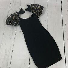 Vintage 80s 90s prom dress black velvet puffy sleeve size 5/6