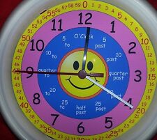 UNDER £10 New Learn How To Tell the Time learning  Wall Clock free 1st class p&p