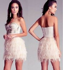 NWT bebe IsIs Dress light pink studded feather strapless top wedding XS 0 2 club