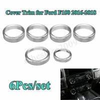 6x Air Conditioner + Audio Switch Knob Ring Cover Trim For Ford F150 2016-2018