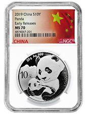 2018 10 Yuan Silver China Panda NGC MS70 35th Anniversary ER Label Retro Core