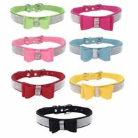 Adjustable Bling Rhinestone Dog Collars Diamond Buckle Pets Collar Necklace Bow