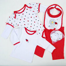 New layette Baby girl 5 pcs Ladybug outfit gift set tee pant mitten booties